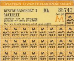 SWEDEN - WAR RATION CARD 1947 WW2 (original) RESTAURANT CARD 2 BK FAT postwar