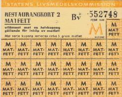 SWEDEN - WAR RATION CARD 1948 WW2 (original) RESTAURANT CARD 2 BV FAT postwar