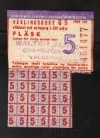 SWEDEN - WAR RATION CARD FEBR 1945 WW2 (original) PORK