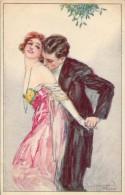 ART DÉCO : COUPLE ROMANTIQUE SOUS GUI / KISS Under MISTLETOE - ILLUSTRATION : S. BOMPARD - ANNÉE / YEAR ~ 1925 (q-045) - Bompard, S.