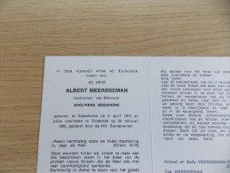 Doodsprentje Albert Meersseman Steenkerke 6/4/1915 Oostende 23/2/1986 ( Adolfiena Gesquière ) - Religion & Esotérisme