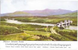 "Menai Straights Colour Postcard - Valentine's ""Art Colour"" - Unused - Anglesey"