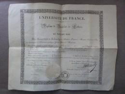 AU NOM DU ROI - DIPLÔME DE BACHELIER ES LETTRES SUR VELIN , MR GUERIN NE A VOLLORE - FACULTE CLERMONT FERRAND - 1837 - Diplômes & Bulletins Scolaires