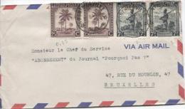 Belgisch Congo Belge TP 232(2)-244A(2) S/L.Avion C.Ponthierville 12/8/1946 V.Bruxelles PR722 - Congo Belge