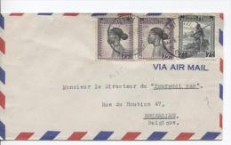 Belgisch Congo Belge TP 236(2)-244A S/L.Avion C.Elisabethville V.Bruxelles PR723 - Congo Belge
