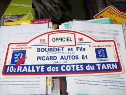 LOT PLAQUE* RALLYE RALLIES AUTOMOBILE COTES DU TARN 81 Peugeot Gaillac Coufouleux Albi Salvagnac Rabastens - Plaques De Rallye
