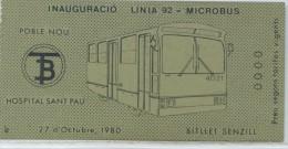 BILLETE COMMEMORATIVO INAUGURACION LINEA 92 DE MICROBUS- BARCELONA // 1980 // REF 7+T) - Europa