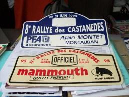 LOT PLAQUE* RALLYE RALLIES 1992 1995 CASTANEDES 82 TARN GARONNE MONTAUBAN MAMMOUTH PFA Assurances - Rallye (Rally) Plates