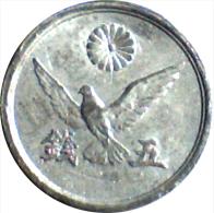 ***CHECKOUT SPECIAL!*** 1945-46, JAPAN, ONE RANDOM HIGHER GRADE, 5 SEN TIN COIN (SHOWA) *SEE PHOTOS* - Japan