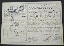 1855 Canal Du Midi  Navigation Et Lettre Voiture Jolie Gravure Transport Farines Toulouse-Béziers 25x17.8cm - France