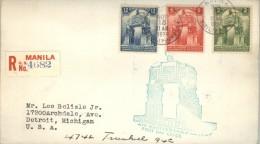 080027  Sc 452-454  MONUMENTS 1939 REGITERED LETTER: MANILA TO DETROIT[GUM BLEED] - Philippinen