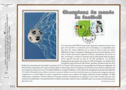"""Feuillet CEF 1er Jour Nté En Soie De 2002  N° 1596s """" CHAMPIONS DU  MONDE DE FOOTBALL """" N° YT 3483 3484. Parfait état  !"""