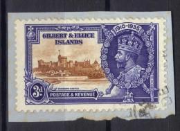 W611 - GILBERT ELLICE 1935 , 3 P. Yvert N. 33 Usato . Giubileo - Îles Gilbert Et Ellice (...-1979)