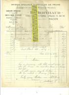71 - Saône-et Loire - MACON - Facture BERTHAUD - Articles De Pêche – 1915 - REF 22 - 1900 – 1949