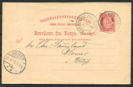 1896 Norway 10 Ore Stationery Brevkort Nordlands Postexp. Arctic - Hemer Germany - Briefe U. Dokumente