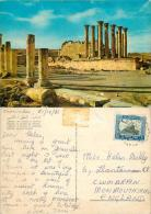 Temple Of Artemis, Jerash, Jordan Postcard Used Posted To UK 1966 Stamp - Jordan