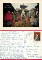 Kathmandu Market, Nepal Postcard Used Posted To UK 1989 Nice Stamp - Nepal