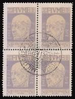 Fiume: Effige Di D´Annunzio - 50 C. Violetto - 1920 / BLOCCO Di QUATTRO - 8. WW I Occupation