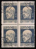 Fiume: Effige Di D´Annunzio - 25 C. Azzurro Scuro - 1920 / BLOCCO Di QUATTRO - 8. WW I Occupation
