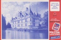 Buvard - PILE MAZDA CIPEL - Château D'Azay Le Rideau N° 11 - Impression Au Verso - 2 Scans - - Non Classés