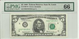 USA $5 Series 1969 St. Louis UNC (graded 66 By PMG) - Billetes De La Reserva Federal (1928-...)