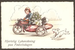 Girl On An Old Motorbike + Two Dogs - Danish Birthday Card From 1942 - Motorräder