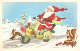 Santa Claus On An Old Scooter - Danish Christmas Card From 1975 - Motorräder