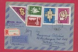 ENVELOPPE RECOMMANDEE DE BUDAPEST  //  POUR POITIERS  //  27/11/1958 - Marcophilie
