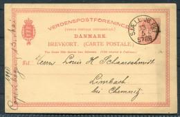 1890 Denmark 10 Ore Stationery Brevkort Copenhagen Sjaell. JB. PKT 57 TOG Railway - Limback Germany - Lettere