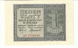 Poland 1 Zlotych 1941 P99 AU/UNC (no Folds 1 Pinhole) - Polonia