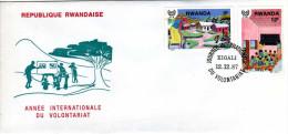 RWANDA - ENVELOPPE   TIMBRE -  REPUBLIQUE  RWANDAISE -  Année Internationale Du Volontariat - 1er Jour - Rwanda