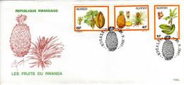 RWANDA - ENVELOPPE   TIMBRE -  REPUBLIQUE  RWANDAISE -  Les FRUITS DU RWANDA Ananas - 1er Jour - Rwanda