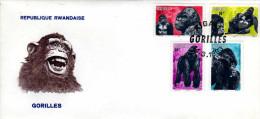 RWANDA - ENVELOPPE   TIMBRE -  REPUBLIQUE  RWANDAISE - Gorilles GORILLE - 1er Jour - Rwanda