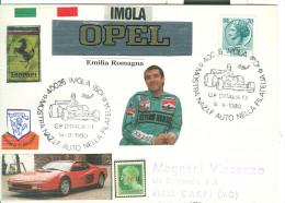 MOSTRA NAZIONALE AUTO NELLA FILATELIA,  IMOLA 1980, G.P. ITALIA  F 1, ANNULLO SPECIALE FIGURATO SU CARTOLINA  FANTASIA - Cars