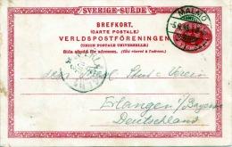 SCHWEDEN 1895 - 3 Öre Ganzsache Auf Postkarte Gelaufen Von Malmö Nach Erlangen