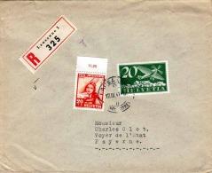SCHWEIZ 1941 - 2 Fach Frankierung Auf R-Brief Von Lausanne > Payerne