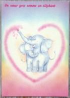 Litho Cpm  Lyna Serie 2178/1 Fantaisie Coeur Et Couple Duo Elephant Elephants Amoureux Pas Voyagé Top - Éléphants