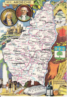 CPSM DEPARTEMENT CONTOUR GEOGRAPHIQUE ARDECHE PINCHON  BLONDEL ROUGERY N°07 NON  GLACEE - Landkarten