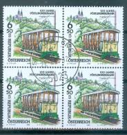 Österreich - ANK-Nr. 2287 Viererblock Eisenbahnen 100 Jahre Pöstlingbahn Gestempelt - Eisenbahnen