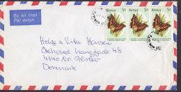 Kenya Airmail Par Avion UKUNDA 1988? Cover Brief To Denmark 5 Sh Schmetterling Butterfly Papillon 3-Stripe - Kenia (1963-...)