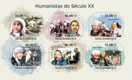 MOZAMBIQUE HUMANIST MOTHER TERESA MARTIN LUTHER NELSON MANDELA POPE JOHN PAUL II S/S MNH C11 MOZ11325A - Famous People