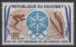 DAHOMEY 1974 - 50th ANNIVERSARY OF 1st OLYMPIC WINTER GAMES CHAMONIX 1924- MINT - DOWNHILL SKIING - SKI JUMP - Winter 1924: Chamonix