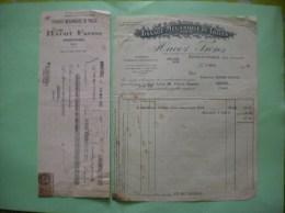 ARMENTIERES HACOT FRERES TISSAGE MECANIQUE DE TOILES RUE JACQUART FACTURE ET TRAITE DU 9 MARS 1928 - Textile & Vestimentaire