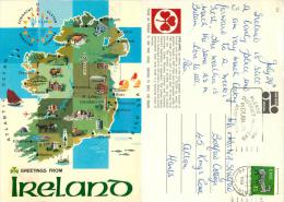 Map, Ireland Postcard Posted 1980 Stamp John Hinde - Other