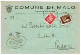 Cover Lettera - Comune Di Malo- Affr.5c Lupa + 25c G.Cesare Imperiale - Viaggiata Italy Italia (22507) - Marcofilie