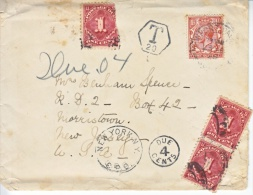 GREAT  BRITIAN   COVER  TO U.S. 1923  WITH  DUES - Covers & Documents