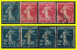 N° 238-239 SEMEUSE FOND PLEIN 1927 - 3 + 5 EXEMPLAIRES OBLITÉRÉS D´ÉPOQUE - - 1906-38 Semeuse Camée