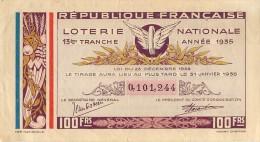 BILLET DE LOTERIE NATIONALE ANNEE 1935 13 Em TRANCHE - Lottery Tickets