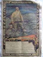 DIPLOME BREVET HOMMAGE PATRIE ARMEE BELGE GRANDE GUERRE 1914 1918 BATAILLE YSER - 1914-18