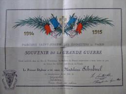 DIPLOME BREVET SOUVENIR GRANDE GUERRE 1914 1918 ECOLE ECOLIER PATRIOTISME PRIX SOLDAT BLESSE - 1914-18